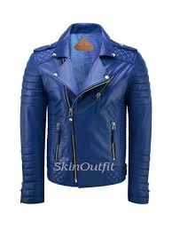 men s biker leather jacket royal blue