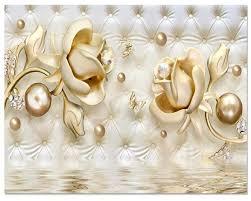 Beibehang Custom Wallpaper 3d Luxury Gold Roses Soft Bag Ball