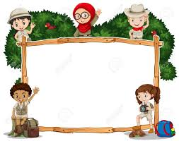 Border Template With Kids In Safari Costume Illustration Royalty