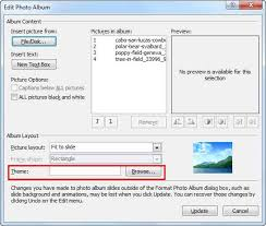 Album Theme Apply Theme To Photo Album Presentations In Powerpoint 2010