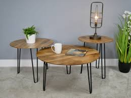 side coffee table round black pin legs