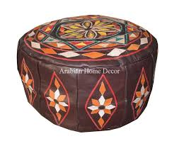 details about moroccan genuine brown goat leather pouf pouffe ottoman hassock footstool