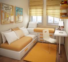 Lounge Bedroom Small Apartment Bedroom Design Brown Laminated Bed Frame Bedside