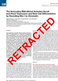 retracted the noncoding rna mistral activates hoxa and hoxa  first page of article