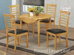 hanover light oak round drop leaf table 4 chairs