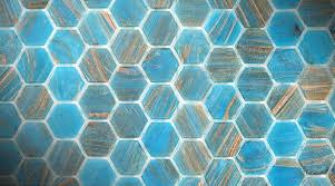 coloured glass hexagonal mosaics