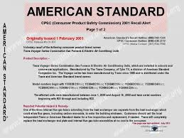 manufacture or age of an american standard® furnace or other additional recalls listed below