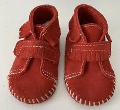 Details About Minnetonka Baby Moccasins Shoes Suede Leather Fringe Size 2 Burnt Red Bootie