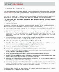 sample safety plan site specific safety plan template safety plan letter of intent