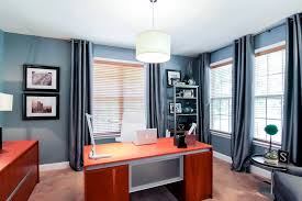 contemporary home office. Modern And Contemporary Home Office With Blue Walls Carpet Flooring Along Cherry Finished Table Pendant Light.