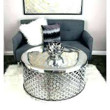 silver coffee table round tables accent the home depot within drum uk silver coffee table
