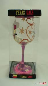 texas gals by working girls design inc 15 oz hand painted wine glass cowgirl