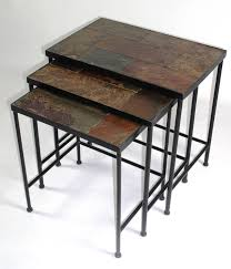 d concepts  piece nesting tables w slate tops in black metal