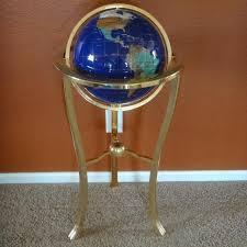 world globe on stand. Blue Lapis Gemstone World Globe With Brass Floor Stand On A