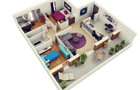 Home Design Small House Plan Three Bedrooms D Bedroom Plans Inspirations 3d  Drawings 3 2017 Regarding
