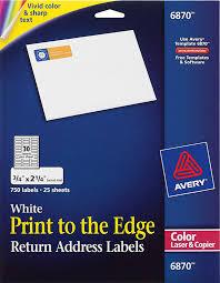 Avery Print To The Edge Return Address Labels 6870