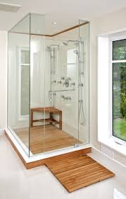 Wall Mounted Teak Shower Bench : Amazing Bathroom Design With Shower Room  Using Glass Door And