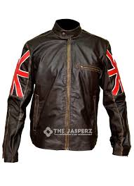 uk flag cafe racer brown biker jacket the jasperz leather s brand