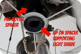 this pill bottle spacer fits into the shade rests on the lip of the spacer and we just used the original nut to the spacer and shade in place