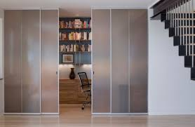 closet styled frosted glass doors to tuck away home office space