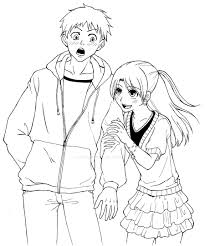 Boy And Girl Anime Drawing 16 Best Friends Coloring Pages Page