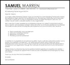 Trainee Cover Letters Marketing Trainee Cover Letter Sample Cover Letter