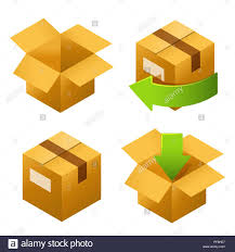 freereturn isometric cardboard boxes set icons delivery and free return of