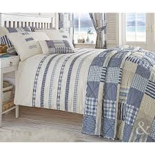 nautical stripe duvet quilt cover cream blue bedding bed set pillow case co uk kitchen home