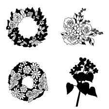 アイコン素材 シルエット 植物花のシルエット 03 無料イラスト素材