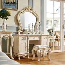 luxury european and american style bedroom furniture french dressing table with mirror
