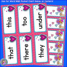Kindergarten Winter Dolch Sight Word Cards Pocket Chart Game