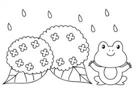 カエルと紫陽花のぬりえ線画イラスト素材 イラスト無料かわいい