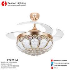 factory hot classic style 42 quiet invisible ceiling fans with led light crystal
