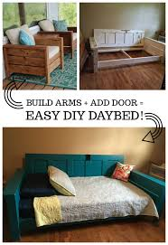 we used an old door she found even using the hinges as a means to attach the door to the bed frame this was my first real project