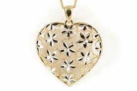 diamond cut heart pendant 14k yellow gold with 18 14k gold cable chain toscanijewelry com