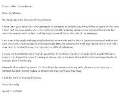 Sample Cover Letter For Hospitality Industry Housekeeper Cover Letter Cover Letter Example Cover