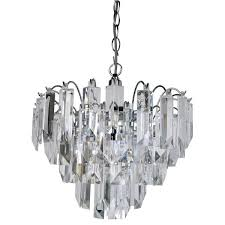 sigma chrome 4 light fitting with clear crystal prisms 6718cc