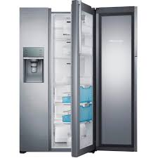 samsung 21 5 cu ft sidebyside refrigerator in fingerprint resistant black stainless counter depth food showcase design rh22h9010sg the home depot