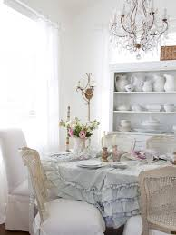 Dining Table With Grey Tufted Fabric Tablecloth With White And