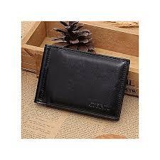 men leather card cash receipt holder organizer bifold wallet purse black