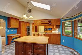Kitchen With Blue Walls Bright Dining Area With Blue Walls White Vaulted Ceiling With