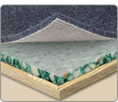 carpet padding. layered cross-sedtion showing carpet, padding and subfloor carpet t