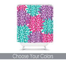 shower curtain monogram custom choose colors hot pink purple turquoise flower burst da