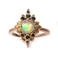 Faceted Opal Anniversary Ring with <b>Black</b> Diamond <b>Drips</b> - <b>Rose</b> ...