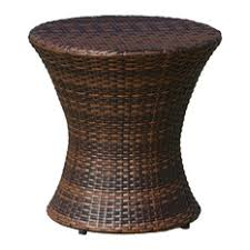 brown wicker outdoor furniture dresses: gdfstudio townsgate outdoor brown wicker hourglass accent table outdoor side tables
