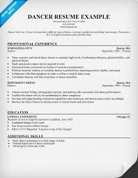 Dancer Resume Example With Professional Experience In Stringfellows