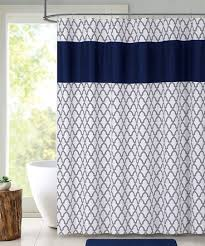 navy white quatrefoil shower curtain set