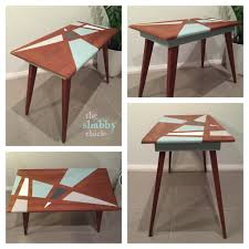 Retro mid century modern side table. Geometric pattern painted in ...