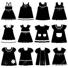 アイコンは子供たちの夏のドレスを設定します白い背景の上の女の子のためのかわいい服をコレクション