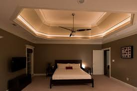Relaxing Neutral Bedroom Boasts Lighted Tray Ceiling